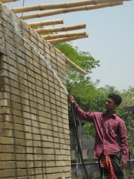 Watering the earth blocks